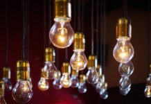 Lightbulbs hanging from the ceiling.
