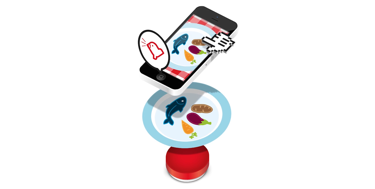 Animated yuScale mobile app, scale and a dish on a plate.