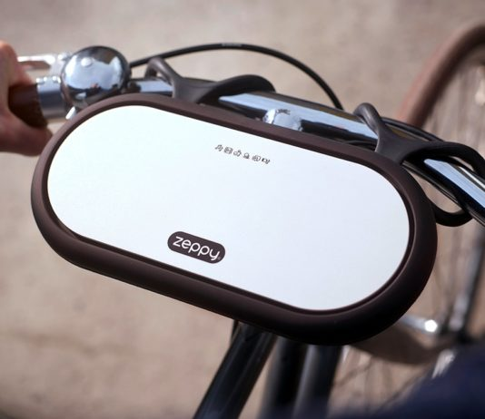 Zeppy wireless speaker in white color attached to a bicycle.