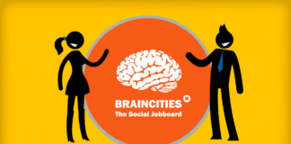 Brancities Lab logo graphics on a yellow background.