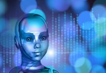 Artificial Intelligence represented by a robotic girl on a blue background.