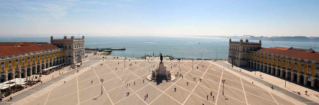 Lisbon's principal square with the view of the sea.