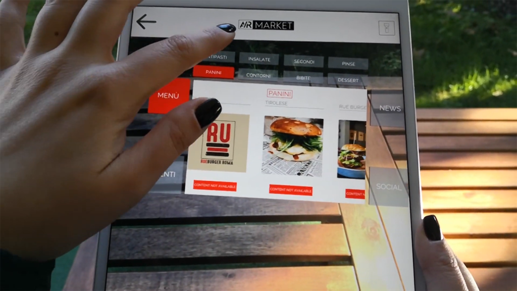 AR Makret augmented reality app displaying burger on a table.