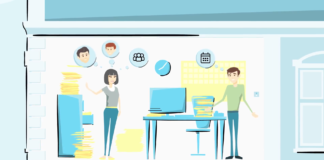 Illustration of woman working in HR and recruitment standing in an office full of papers.