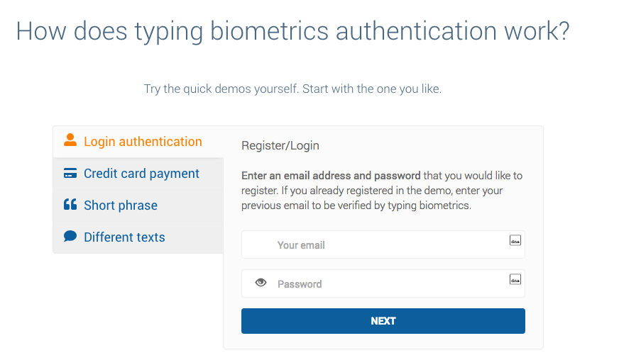 Screenshot of TypingDNA homepage showing that users can try a free demo.