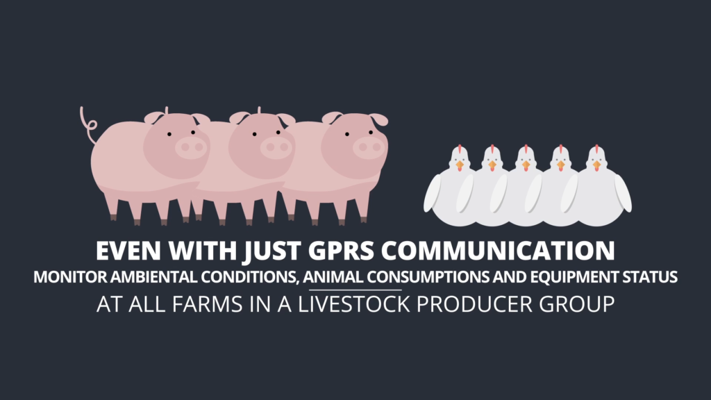 FarmCloud infographics showing three pigs and four ducks explaining gprs communication.