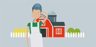 FarmCloud farmer graphics. Farmer standing helpless in front of a farm, gray background.