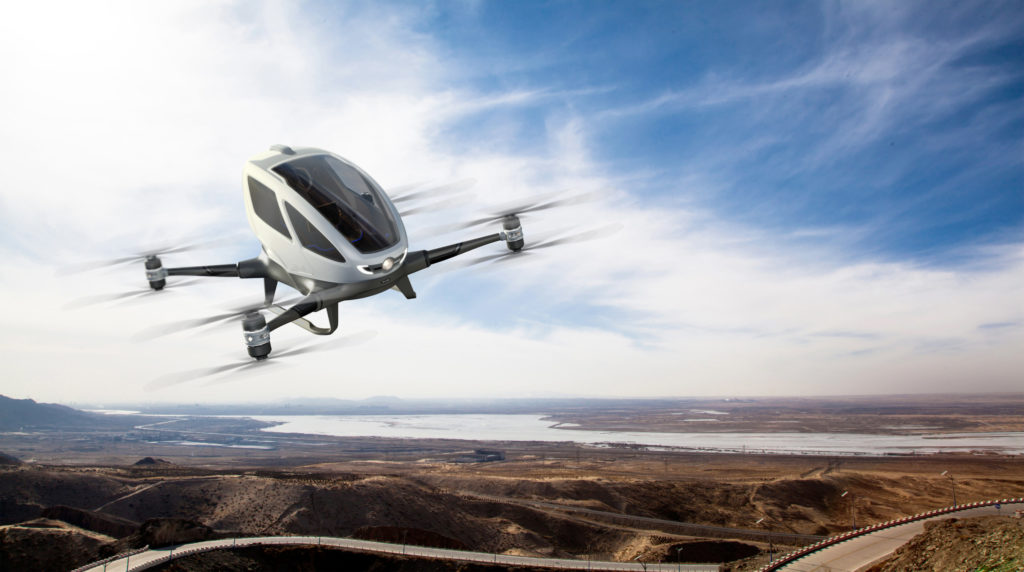 The EHang autonomous aerial vehicle in flight.