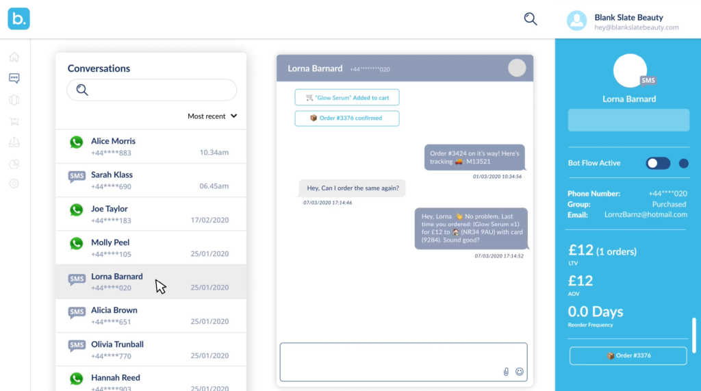 A screengrab of Blueprint's Messaging Platform