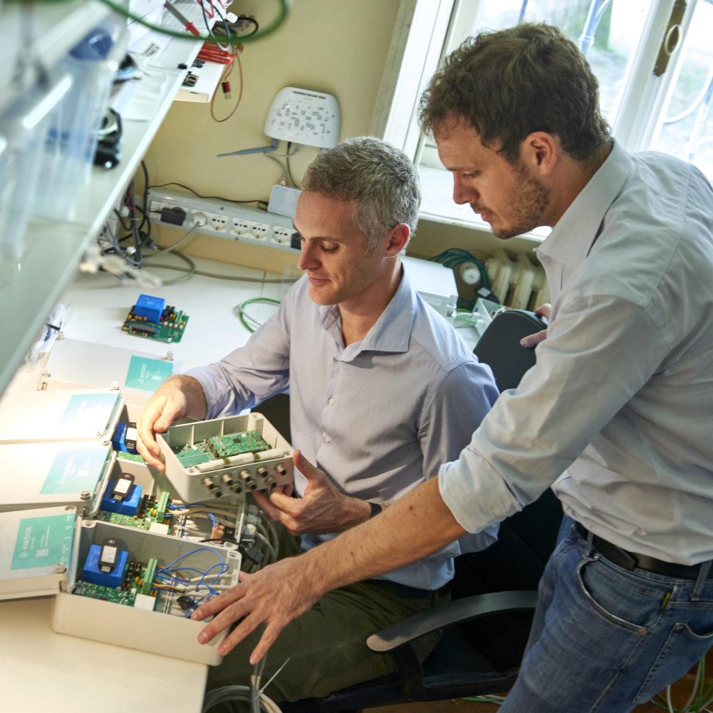 Enerbrain's Giuseppe Giordano and Filippo Ferraris in the lab.